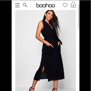 Boohoo NEW black sleeveless belted dress